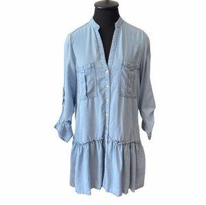 Zara Denim Long Sleeve Mini Dress w/Ruffle Detail